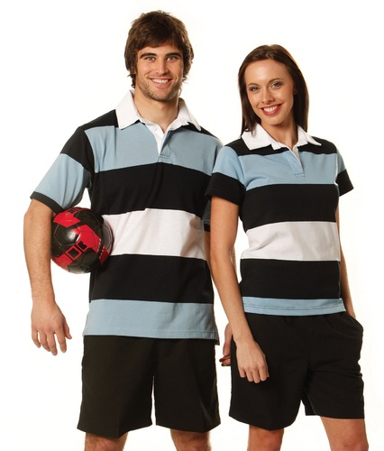Mens Yarn Dyed 3-tone Short Sleeve Rugby