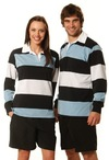 Mens Yarn Dyed 3-tone Long Sleeve Rugby