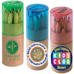 Coloured Pencils In Cardboard Tube With Sharpener