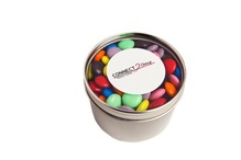 Small Round Acrylic Window Tin Fillled with Choc Beans 170G (Mixed Colours)