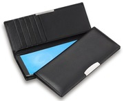 Executive Cheque Book Wallet With Silver Trim