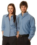 Mens Wrinkle Free Long Sleeve Chambray Shirt