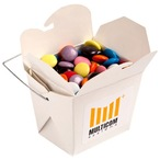 White Cardboard Noodle Box Filled with Choc Beans (Smartie Look Alike) 100G