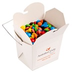 White Cardboard Noodle Box Filled with M&Ms 100G