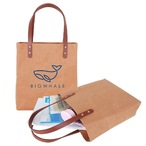 Washable Kraft Paper Bag With Pu Handle