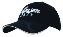 Brushed Heavy Cotton Golf Cap With Golfer Embossed On Peak