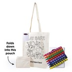 Get Crafty Folding Calico Bag and Crayons